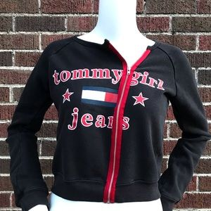 VINTAGE TOMMY GIRL FULL ZIP CREW NECK SWEATER